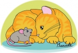 Ginger Cat and Baby Mouse