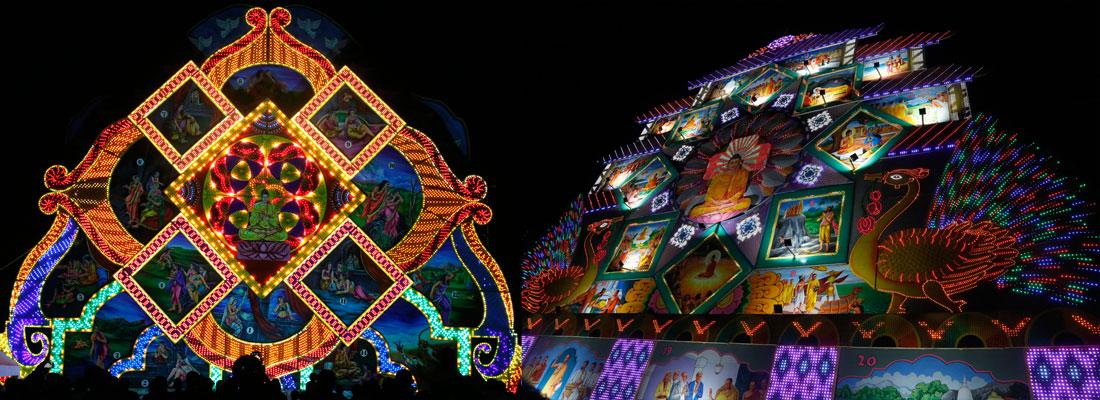 Digitalised pandals flash bright this Vesak