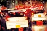 Red light district: Break lights illuminate the dusk