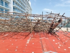 Scaffolding collapse causes damage  to art shop