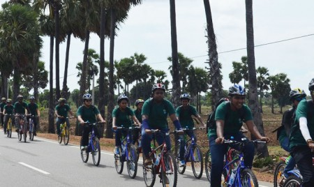 Cycling together in Palmyrah country