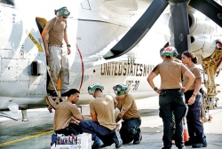 US military in cargo transfer operation at BIA