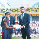 Savindu Silva of SSC BLUE, the Player of the Tournament, receiving the trophy and certificate from Sadeera Samarawickrama, the special guest