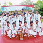 NCC Cricket Academy – winners of the 3rd annual Under-12 Cricket Tournament, organised by the CCC School of Cricket, with their trophy