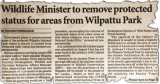 Cabinet rejects removal of Wilpattu's 'Protected Areas'