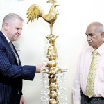 Lighting the oil lamp by the Chief Guest Australian High Commissioner for Sri Lanka His Excellency David Holly