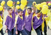 A colourful drill display at the Inter-House Sportsmeet of Nalanda College