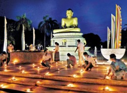 Lighting up curfew-hit Vesak