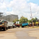 Garbage collector trucks line up