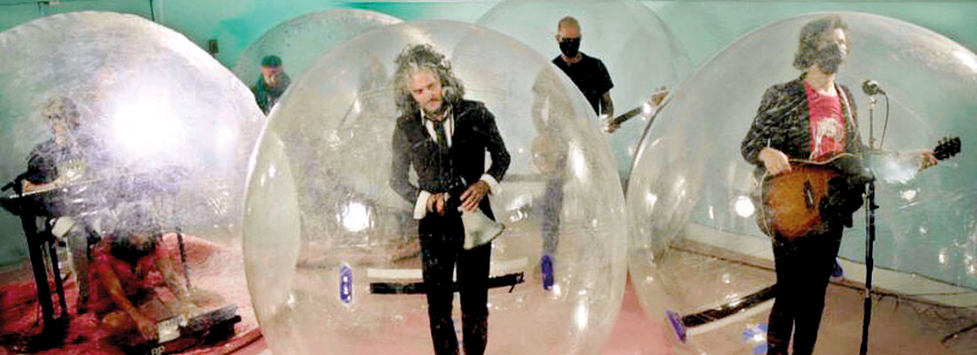 The 'Flaming Lips' rock out safely in 'space bubbles'